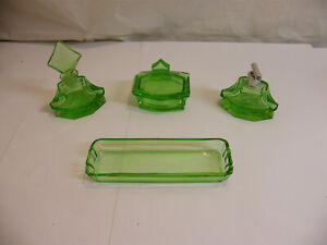 Art Déco antik Frisiertisch 4tlg Garnitur Kammschale Parfüm Flacon grün