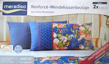 Kissenbezug Bezug Kissenbezüge mit Knopfleiste 2 x 40x80 cm blau Blumen Neu!!!