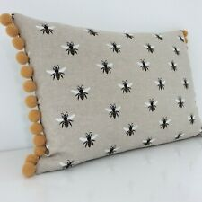 Bumble Bee Cushion Cover Natural Vintage Linen Look Fabric & Mustard Pom Pom