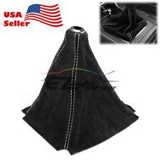 Genuine Real Leather Alcantara Shift Knob Boot Cover Black With White Stitches