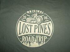 Lost Pines Texas TX Road Trip Motorcycles Green Graphic Print T Shirt L