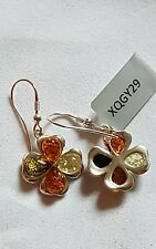 Baltic Cognan, Green & Caampagne Amber Sterling Silver Earrings with Certificate