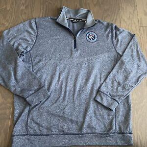 Adidas Men New York City FC NYCFC Climawarm 1/4 Zip Sweatshirt Pullover 2XL XXL