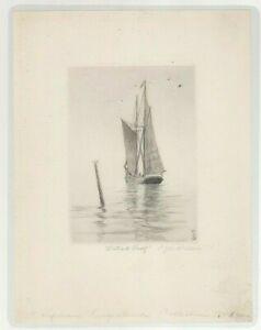Charles J. A. Wilson Etching Art Print Two Mast Schooner Free Shipping