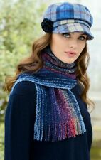 Blue Red Navy Irish Skellig Scarf Cashmere & Merino Wool Mucros Weavers v18