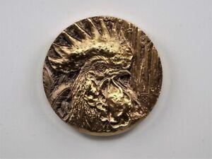 China Shanghai Mint 2015 Zodiac Series Rooster Zodiac Heads Brass Medal 60mm COA