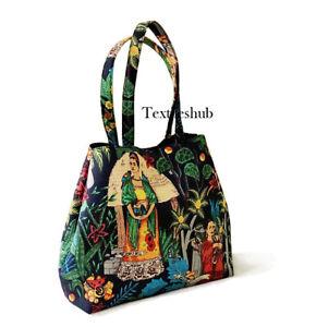 Black Frida Kahlo Floral Purse Cotton Women's Shoulder Messenger Handbags FBB