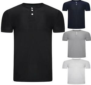 Men Henely Neck T shirt  Short Sleeve Casual Fit Stretchy Top Sports S-XXL