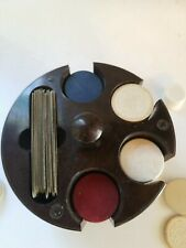 VINTAGE SWIRLED BAKELITE POKER CHIP CADDY WITH RED, WHITE AND BLUE  CHIPS