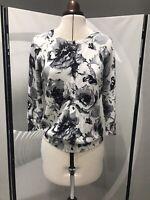 Joseph A. Black & White Floral Cardigan Soft Size S Preppy Chic Lux Elegant