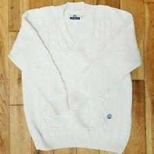 BLUE WILLI'S Natural Garment Cotton Jumper Cable Knit Ivory Size L V Neck