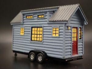 TINY HOUSE ON A FLAT BED TRAILER CAMPER W/ HITCH 1:64 SCALE DIORAMA RESIN MODEL