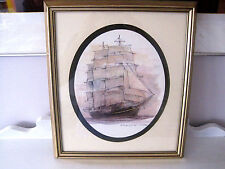 "Framed Watercolor Sailing Ship Mads Stage Fieldriggerin ""George Stage"" Print"