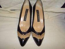 Vintage Maud Frizon Paris Black & Tan Pumps  Heels Size 37 1/2