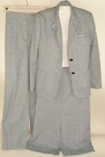 Vtg George Brown Originals 3 Pc Suit Blue Mod Polyester Skirt Pants Jacket Sz 8
