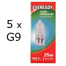 5 x Eveready G9 Bulb 25W Halogen Capsule 250 Lumens 220V Clear Lamp