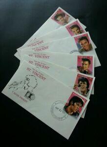 [SJ] St.Vincent Elvis Presley 1992 Singer Artist Famous (stamp FDC 6's complete)