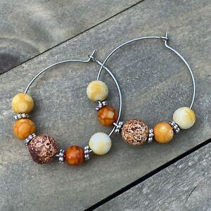 Min Favorit Shades Of Fall Agate Beads & Silver Pl Artisan Hoop Earrings