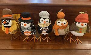 Walmart Target Fall Bird Thanksgiving Fabric Birds Walmart Halloween  NWT 5 Set