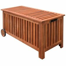 Outdoor Storage Bench Deck Box Garden Wooden Patio Porch Cushion Pillow Storage