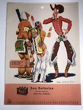 1949 Sun Auto Car Battery Calendar Sign Santa Ana California Gas Oil Stockton