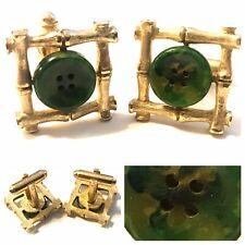 Vintage Dante Cufflinks Gold Tone Bamboo Jade Buttons