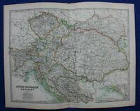 Original antique map AUSTRO-HUNGARIAN EMPIRE, A.K. Johnston, 1896
