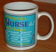 "NURSE ceramic coffee MUG ""It's Easy to be a Nurse.  All it takes is ...."" GANZ"