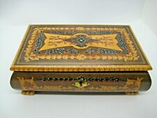 VINTAGE WOODEN INLAID WOOD MUSIC BOX SWISS MOVEMENT PLAYS TORNA A SORRENTO
