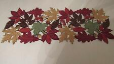 """Fall Thanksgiving Scattered Leaves Cut Outs Suede Like Table Runner 36"""" NEW"""