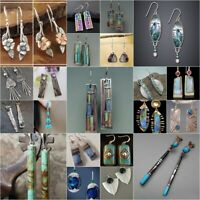 925 Silver Multi-Color Gemstone Ear Hook Dangle Drop Earrings Women Jewelry Gift