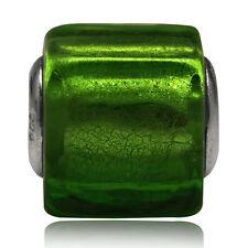 Green Murano Lampwork Glass 925 Sterling Silver European Charm Bead