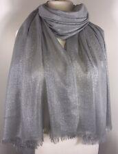 Sparkly Silver Grey Scarf Pashmina Wrap Shawl Metallic Shimmery Weddings NEW