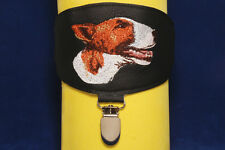 Bull Terrier arm band ring number holder with clip. For dog shows.