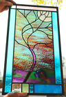 Stained Glass Window Panel Moonlit Tree purple turquoise green