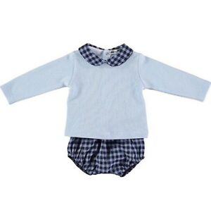 Peter Pan Collar 2pc Blue Check Set by Spanish  Brand Babidu - 6-9 Months