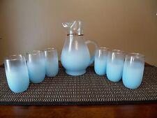 Vtg Blendo Frosted Glass Aqua Blue Juice Pitcher - 6 Matching Glasses - Nice!!