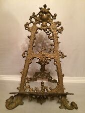 Antique X Large Brass Table Easel for Photo, Plate or Art Holder Display Stand