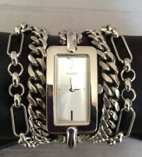 "Womens Guess Heavy Metal Multi Chain Curb Link Bracelet Watch Silver Tone 6.25"""