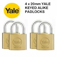 4 PACK YALE SECURITY / LUGGAGE PADLOCKS 20mm - KEYED ALIKE - SOLID BRASS - NEW