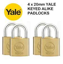 4 PACK YALE SECURITY / LUGGAGE PADLOCKS 20mm - KEYED ALIKE - SOLID BRASS - NEW