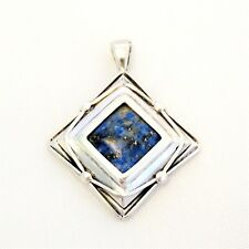 Square Sterling Silver Pendant with Lapis Lazuli Center, Marked ©M