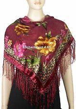 "Handmade 34""x34"" Vintage Floral 100% Silk Burnout Velvet Scarf Shawl, Burgundy"