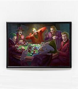 Jokers Playing Poker Poster   Framed Art   Heath Ledger   Joaquin Phoenix   NEW