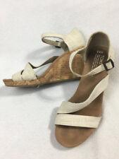 Toms 9.5 Clarissa Natural Linen Cork Wedge Heels Strappy Buckle Sandals Womens