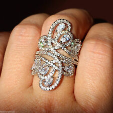 size 10 STATEMENT RING 18K WG-FILLED AAA CLEAR CZ FINE FILIGREE LONG RING