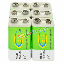 6x 9V 9 Volt 300mAh BTY Green Ni-Mh Rechargeable Battery