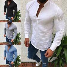 Men's Summer Cotton Linen T Shirt Tops Casual V Neck Long Sleeve Tee M-3XL Lot