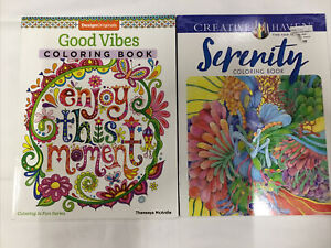 Lot of 2 Adult Coloring Books Good Vibes; Serenity