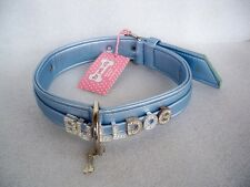"COLLARE CANE PLAY WITH ME LIGHT BLUE ECOLEATHER ""FOR PETS ONLY BULLDOG MISURA 55"